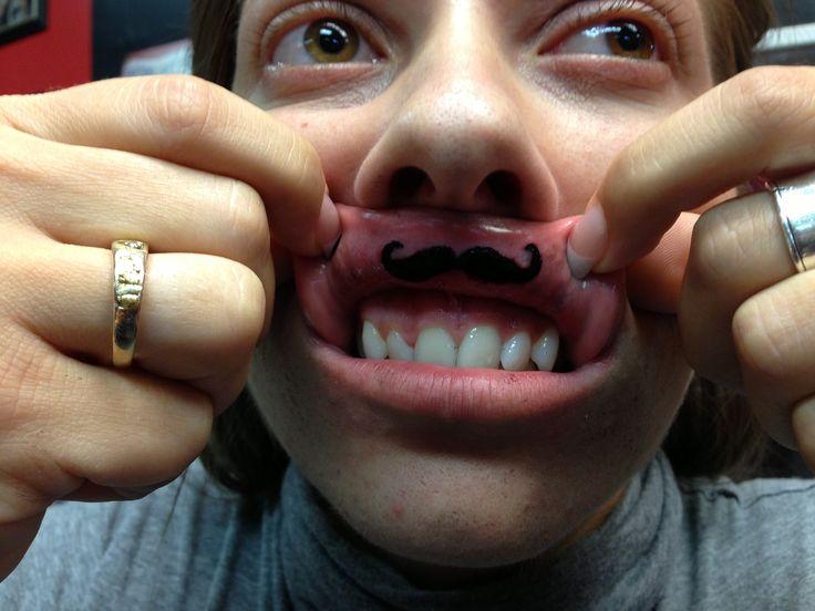 Mustache tattoo I did on a girls lip!   Tattoos