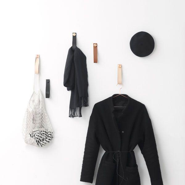 By Lassen Stropp wall hanger 2 pcs, brass/black leather | Storage | Decoration | Finnish Design Shop