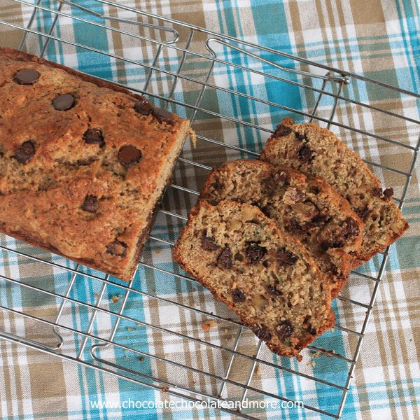 TweetCinnamon Zucchini Bread with Chocolate Chips and Walnuts-so good you'll want to eat it all day long! I really love going to our local Farmer's Market on Saturday mornings. It's a small community market. Nothing fancy. On a good day there are probably 10 vendors. I've been stocking up on Zucchini while it's so plentiful. …