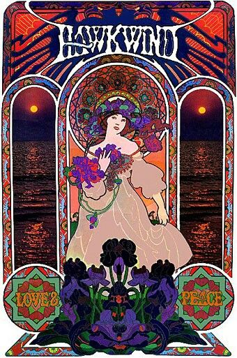 Hawkwind 'Art Nouveau' styled poster: 'Love & Peace'