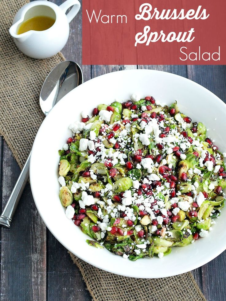 Warm Brussels Sprouts Salad with Pomegranate and Goat Cheese. Easy ...