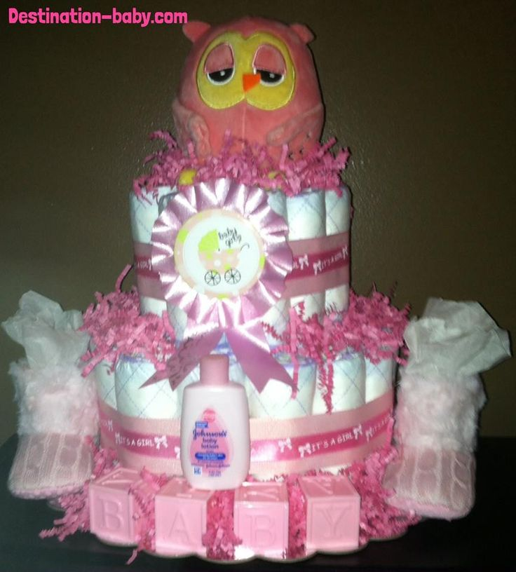 Precious Moments Baby Shower Cakes: Pink Owl Baby Diaper Cake