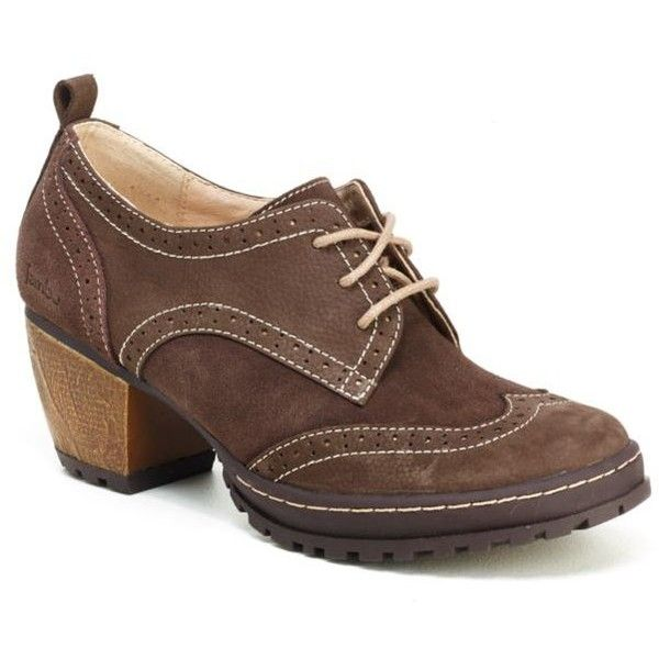 Jambu Brown San Fran Shoe - Women's ($139) ❤ liked on Polyvore featuring shoes, brown, jambu shoes, brown oxfords, oxford shoes, wood heel shoes and brown shoes