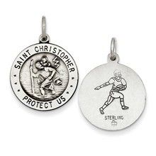 St. Christopher Football Medal, Dazzling Charm in Sterling Silver