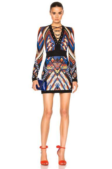 Lace Up Mini Dress in Multi