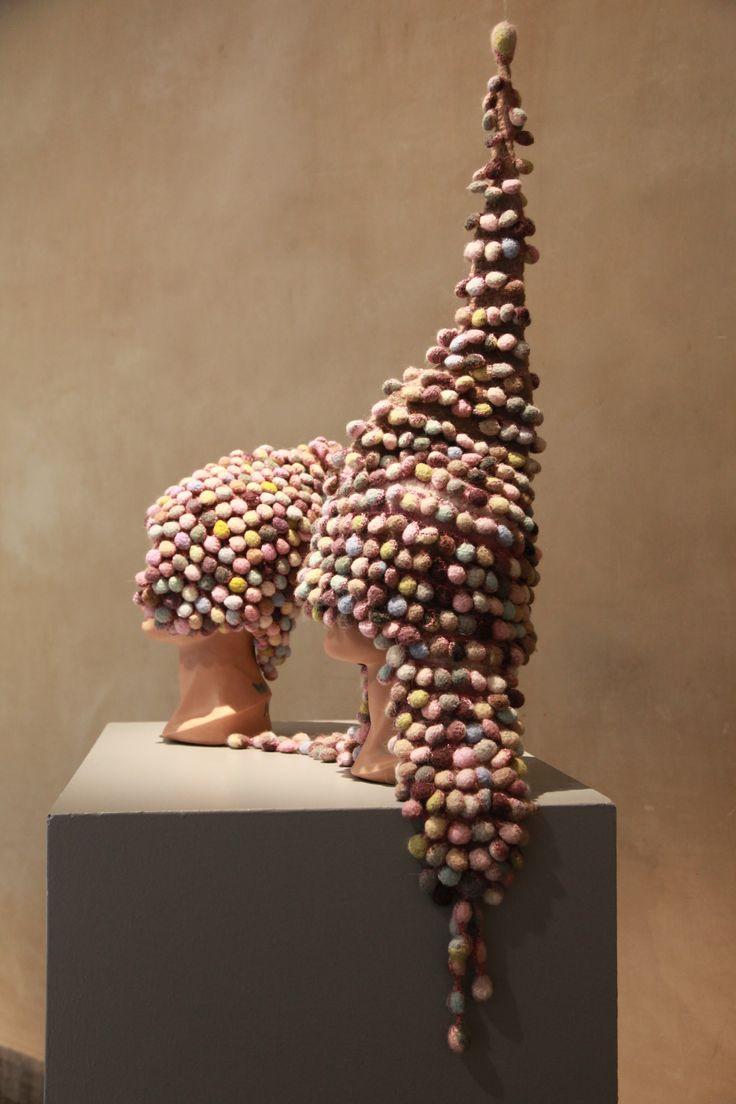 Fiber art work Title: Bløde brynjer/soft helmets Hækling/Crochet