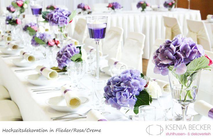 flieder rosa hochzeitsdekoration tischdekoration mit hortensien rosen