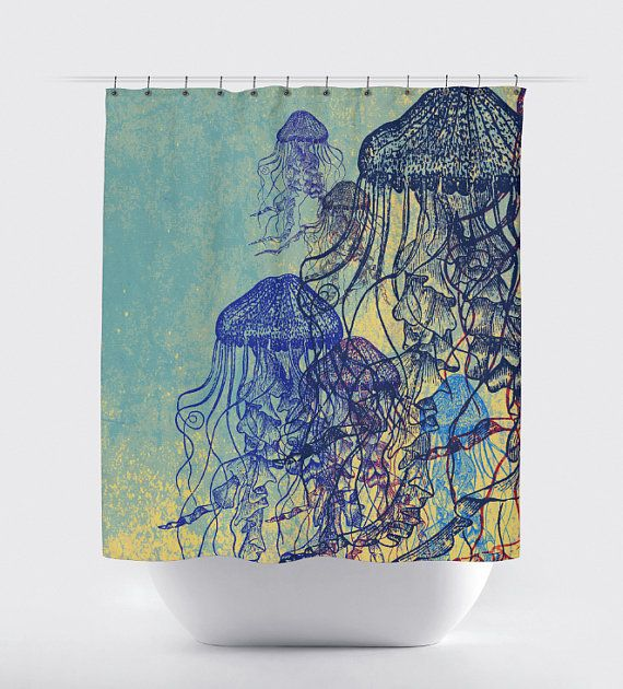 Jellyfish Shower Curtain: Nautical Sealife Water Inspired 12 Hole Fabric Bathroom Decor Any Size Available