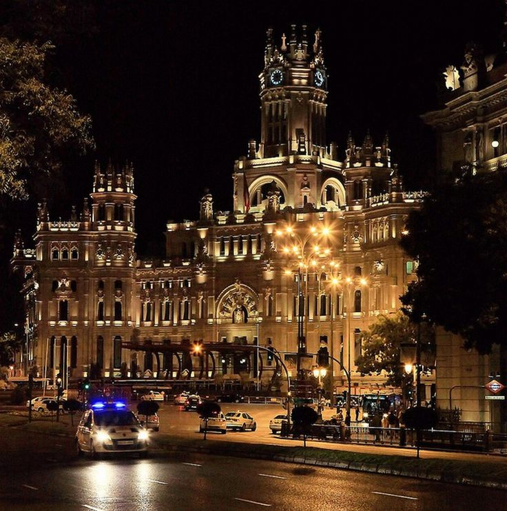 Palacio de Cibeles Madrid Spain. The cathedral-like landmark was built in 1909 by Antonio Palacios. This impressive building was home to the Postal & Telegraphic Museum until 2007 when the landmark building became the Madrid City Hall (Ayuntamiento de Madrid) / Photo: freemysoul, via Flickr