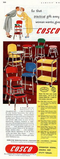 Fabulously bright, stylish mid-century household stools, chairs, and utility tables. #home #decor #furniture #1950s #vintage #retro #chair #ad