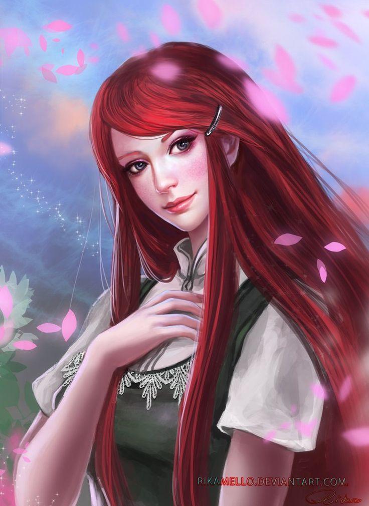 Красноволосая девушка картинки аниме
