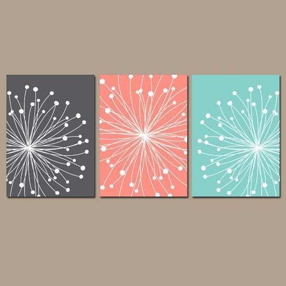 DANDELION Wall Art, Dandelion Bedroom Wall Decor Canvas or Prints Gray Coral Aqua Art, Coral Aqua Bathroom Decor, Set of 3, Home Decor