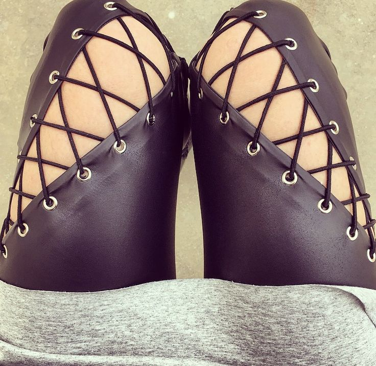 The cross lace-up leather leggings