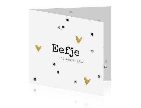 Hip zwart wit geboortekaartje voor een meisje met speelse aquarel look confetti en met goud structuur gekleurde hartjes en sterren. Alles is aan te passen!