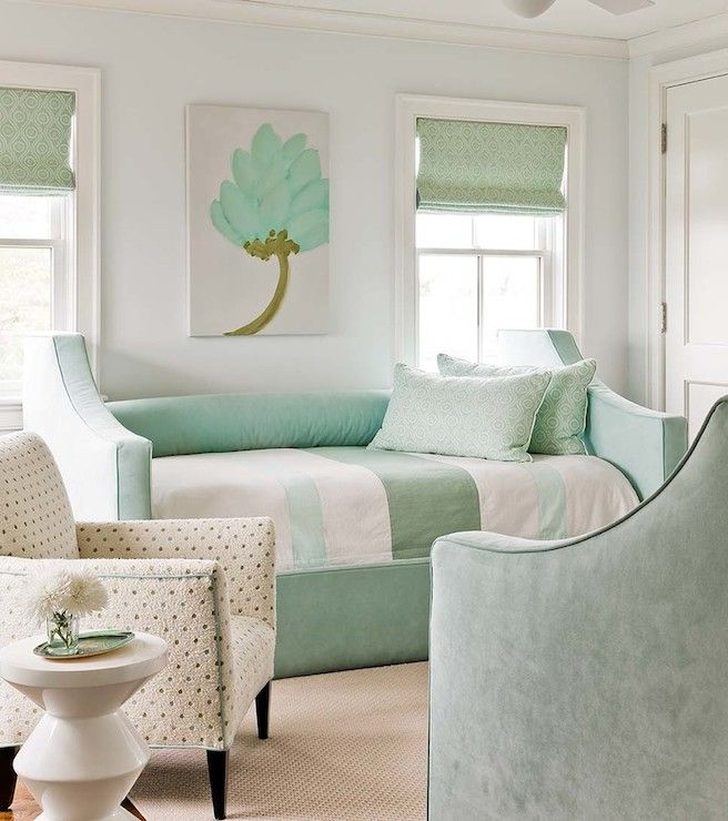 pale blue walls  pale blue wall color  vase of flowers  mint green bedroom  mint  green room  mint green bedroom  mint green chair  mint green velvet daybed. 17 Best ideas about Mint Bedroom Decor on Pinterest   Mint girls