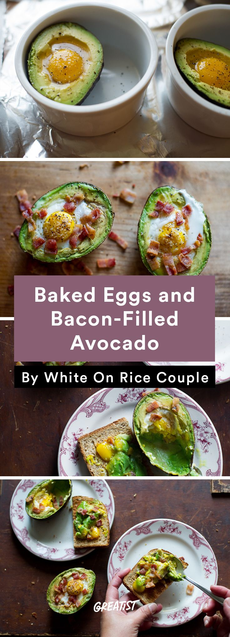 4. Baked Eggs and Bacon-Filled Avocado #healthy #recipe #stuffedavocado #avocado http://greatist.com/eat/stuffed-avocado-recipes