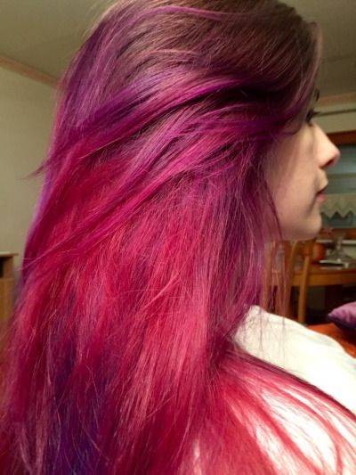 pink and purple hair using directions carnation pink