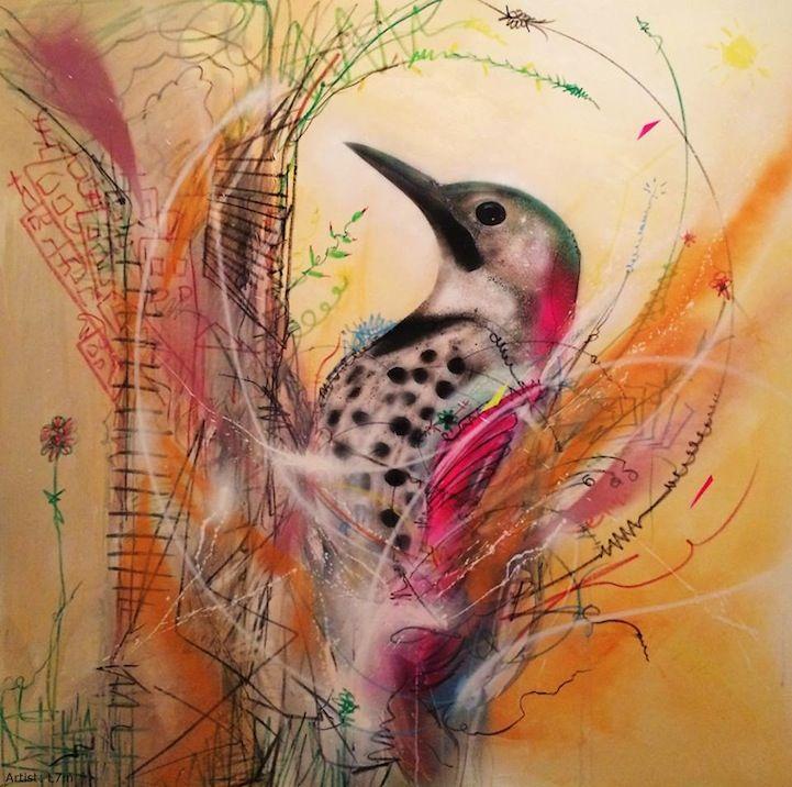 Beautiful Bird Drawings by Brazilian Street Artist L7m - My Modern Metropolis