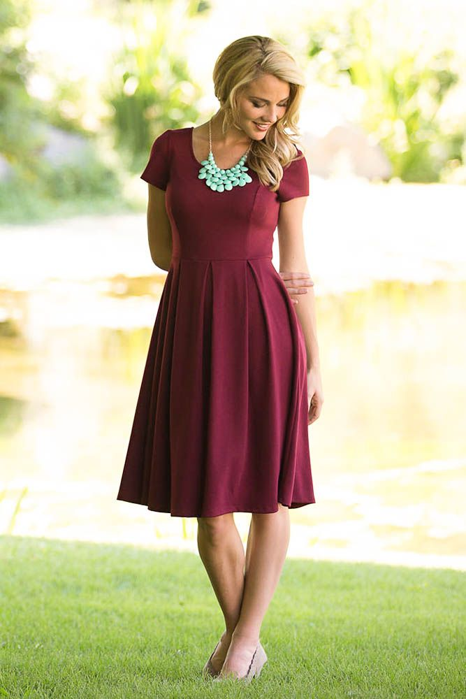 Ivy A-Line Modest Bridesmaid Dress in Cranberry Red