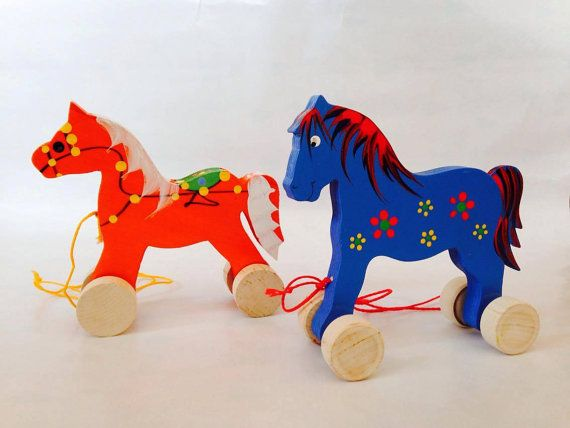 A Pair of Wooden Horses on Wheels   Pull Toys by FriendsOfForest