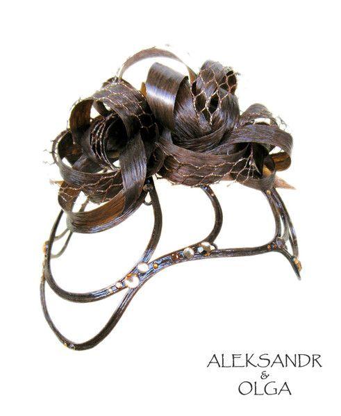 Украшение - ДИАДЕМА - постиж, светло-каштановая (ИЗ натуральных ВОЛОС) http://www.livemaster.ru/hair-jewellery http://www.aleksandr-and-olga.ru/
