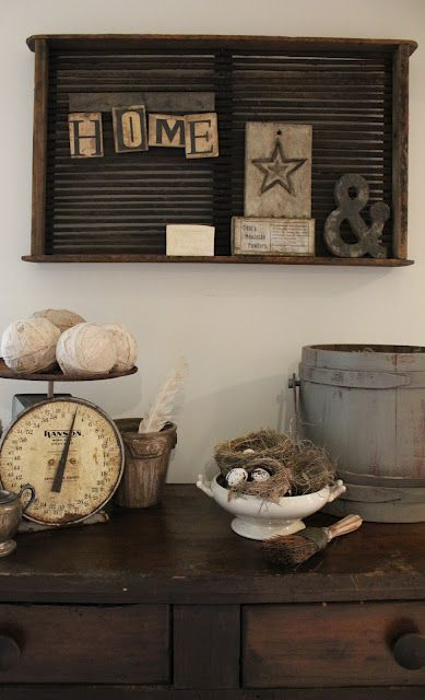 Old scales and wood buckets are great additions to prim or antique decor!