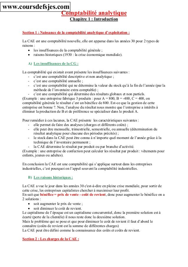 Comptabilite Analytique Chapitre 1 Introduction Section 1 Naissance De La Comptabilite Analytique D Exploit Comptabilite Analytique Analytique Comptabilite