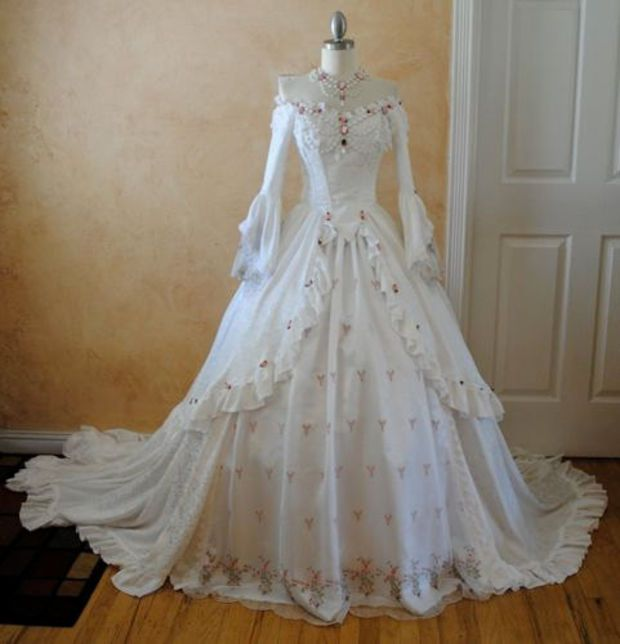 Rosebud Off Shoulder Romantic Marie Antoinette Fantasy Gown Custom with Jewelry