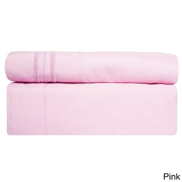 4 Piece Pink California King Bed Sheet Set Fitted Flat Pillowcases