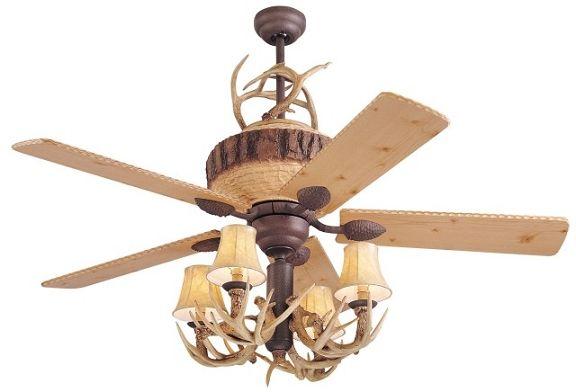 A Great Lodge 52 Ceiling Fan w/4Lt. Antler Light Kit