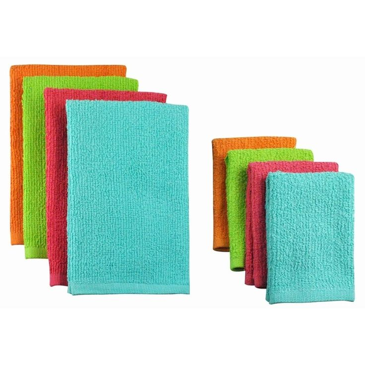 Pack of 8 Solid Tropical Colored Dish Towel and Wash Cloth Kitchen Accessory Set - Terry Cloth, Multi