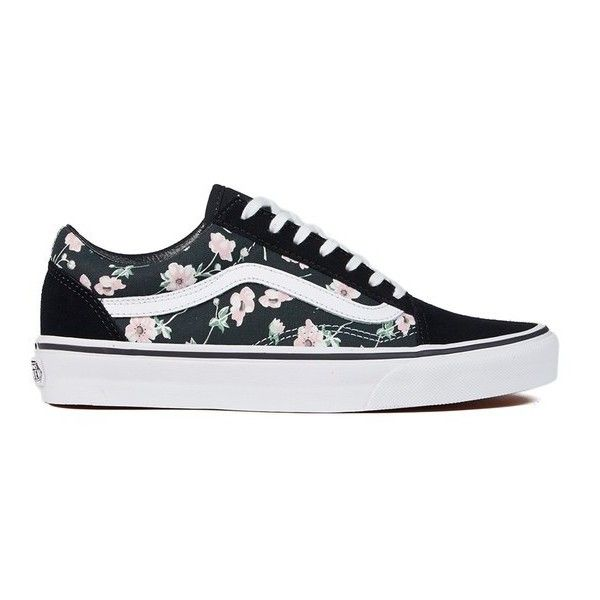 Vans Women's Old Skool Vintage Floral Trainers - Blue Graphite ($84) ❤ liked on Polyvore featuring shoes, sneakers, vans, blue, floral print sneakers, blue leather sneakers, vans trainers, floral shoes and leather flat shoes