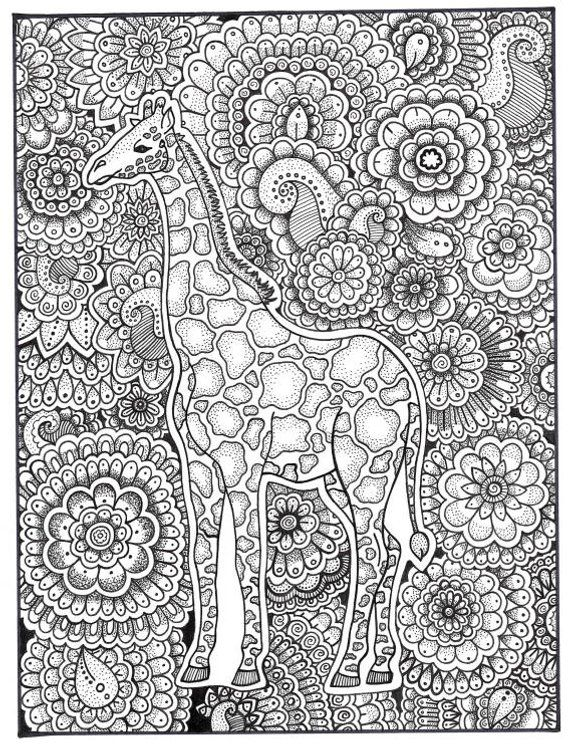 Giraffe Coloring Page Coloring Book Pages Printable Adult