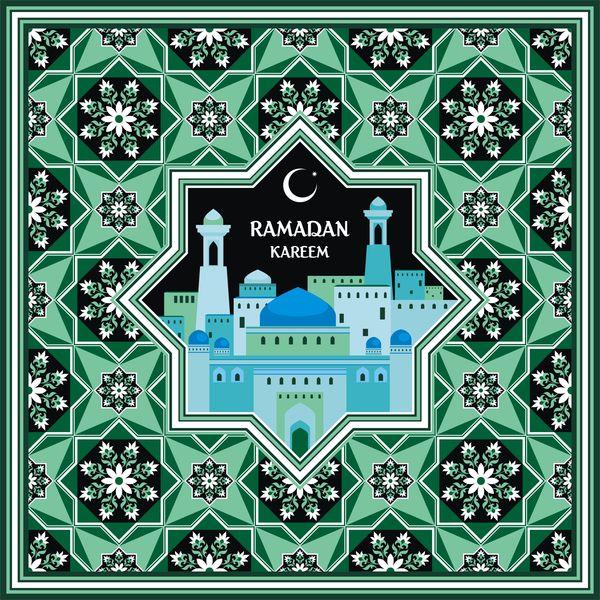 Ramadan Greeting Card Green Vector Ramadan Greetings Ramadan Greetings