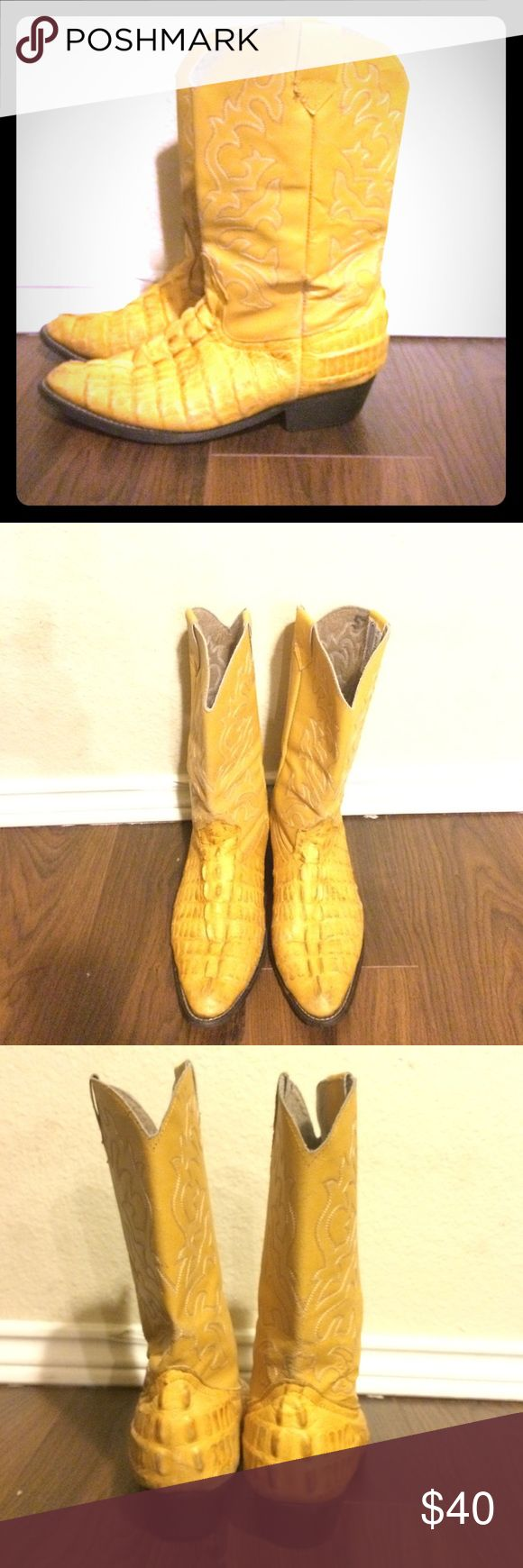 Vintage mustard alligator boots. Amazing, stylin mustard yellow alligator boots. Lightly worn, but in great condition for vintage. Shoes Ankle Boots & Booties