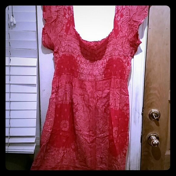 Plus size Red western style dress Red bandana print, knee length dress. Super cute with a pair of cowboy boots and Jean jacket. Gently used 3X. Blue Planet Dresses