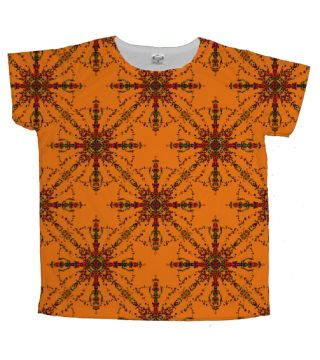 Bacteria v Virus in Orange Ladies Classic T-Shirt by Terrella.  A pattern of lines and circles with outlines reminiscent of bacteria and viruses as viewed under a microscope but arranged in crossed pattern with a circle joining the points.  This is the orange version.