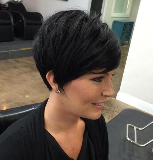 Layered Brunette Pixie With Bangs