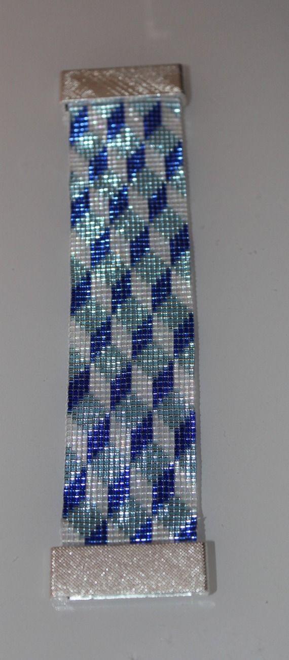 Bracelet manchette tissé en perles de rocaille MIYUKI                                                                                                                                                                                 Plus