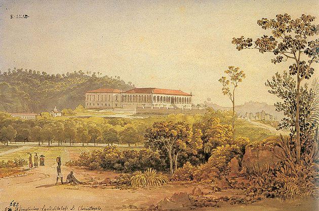 Palácio Real de Campo, em São Cristovão] 1817 | Thomas Ender aquarela, pena sobre lápis 19.00 x 28.50 cm