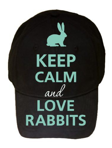 Keep Calm and Love Rabbits Silhouette Black 100% Cotton Adjustable Cap Hat