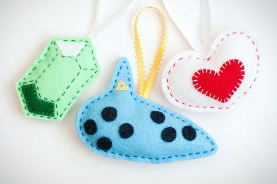 Handmade Felt Zelda Ornaments  Ocarina Heart Piece by amandaflagg