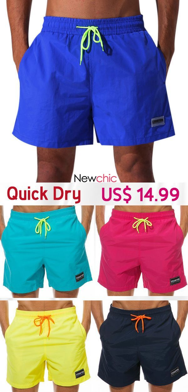 a8376268bd7  Shop Now Quick Dry Water Repellent Sport Drawstring Solid Color Board Shorts  for Men
