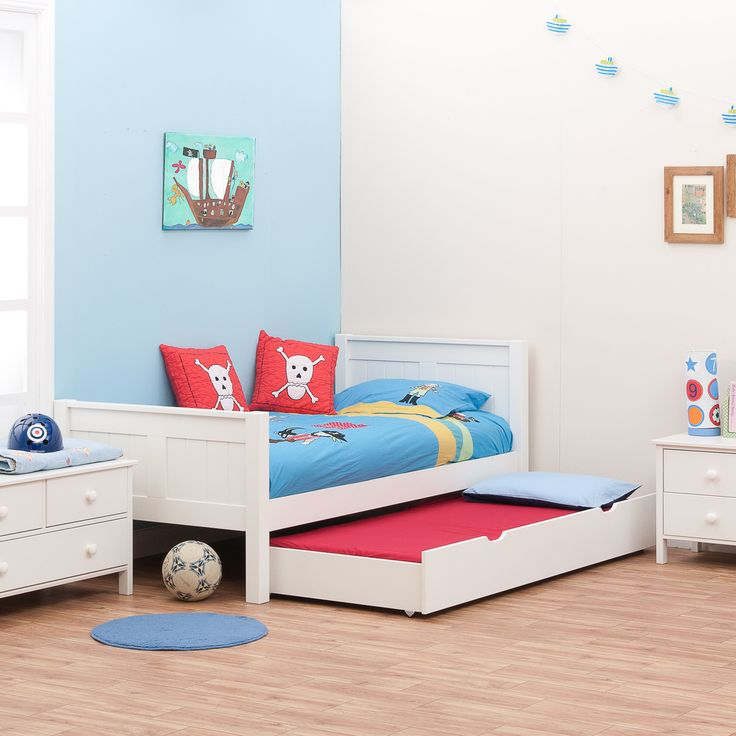 Classic White Single Bed For Kids By Stompa With Underbed Trundle