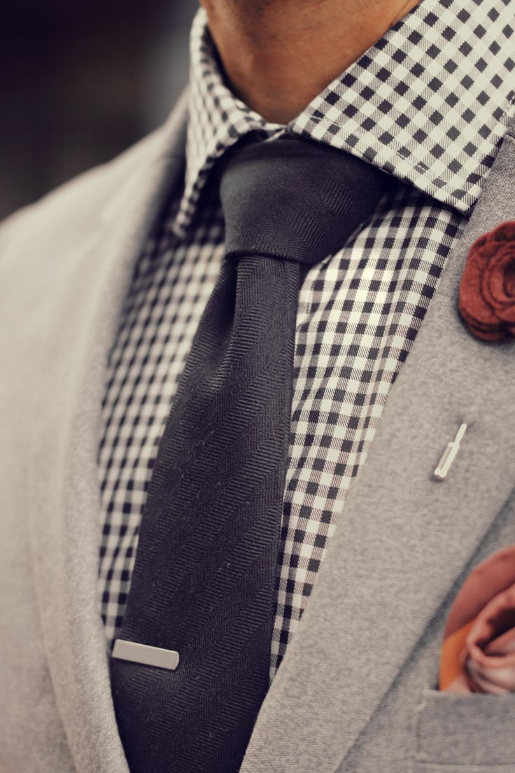 Grey Suit Gingham Shirt Red Lapel Flower Black Tie