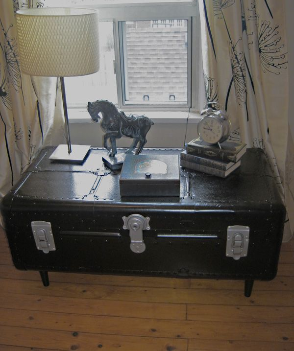 "FOR SALE: Restored Antique Steamer trunk to Coffee Table. Painted black with hammered silver hardware Dimensions are: 36"" long x 21"" deep and 17"" - painted and lined bottom -  $350  www.portaverdestudio.com"