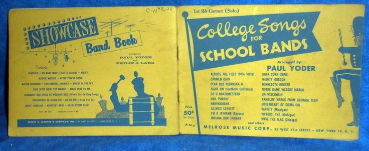 COLLEGE SONGS for School Bands Music Book  1st Bb Cornet Solo 1951  A2