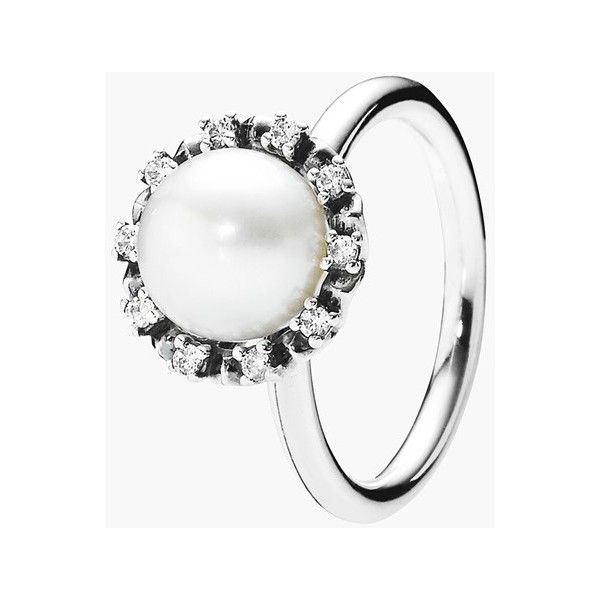 Women's PANDORA 'Everlasting Grace' Pearl Cocktail Ring ($82) ❤ liked on Polyvore featuring jewelry, rings, pearl cocktail ring, pandora jewelry, party jewelry, pearl jewellery and white pearl ring
