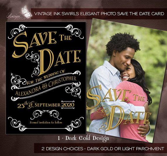 Vintage ink Swirls Elegant Photo Save The Date Card Printable DIY Card / Postcard by Ruxique