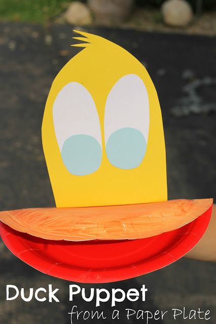 Duck puppet from a paper plate. Easy to make and perfect for retelling stories.